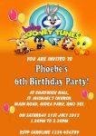 Personalised Baby Looney Tunes Invitations